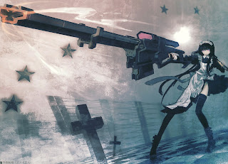 Black Rock Shooter Firing Riffle Girl Anime HD Wallapper Desktop PC Background 1719
