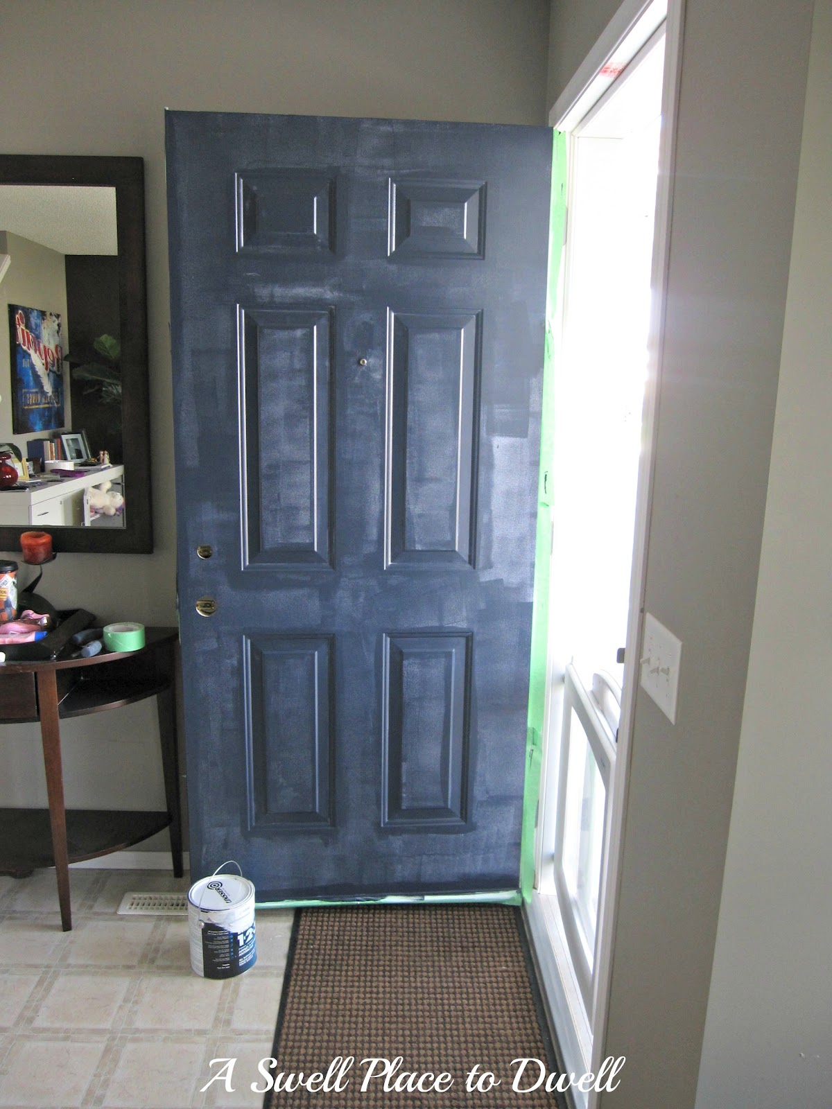 Dark blue front doors - I Used The Same Method With The Navy Blue Exterior Paint Cut In First And Then Used A Foam Roller