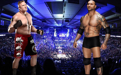 brock lesnar en lucha vs batista, el animal vs la bestia brock lesnar de WWE
