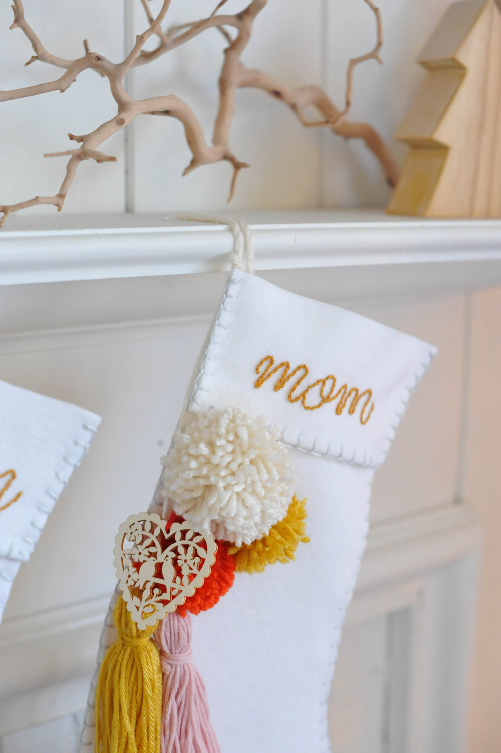 DIY Christmas Stocking with Tassels and Pom-poms