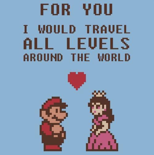 Mario Bros y Peach en el Día de San Valentin