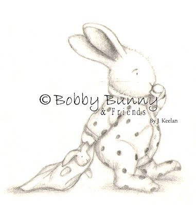 Bobby Bunny Charater Original Black & White Sleepy Bunny Illustration - Copyright Bobby Bunny & Friends By Jennifer Keelan 2007