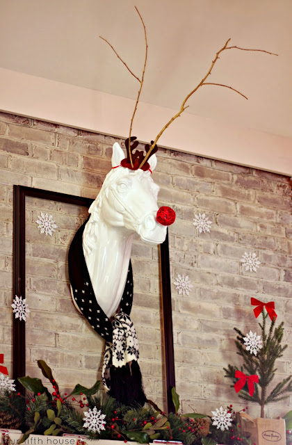 Whimsical Christmas Mantel  - Horse as Rudolph