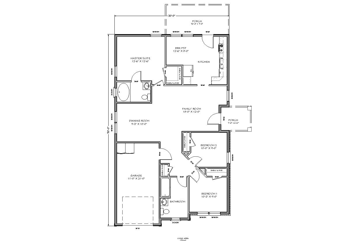 What is 1000 square feet room size - 1400 Square Foot Home Plans One Bedroom