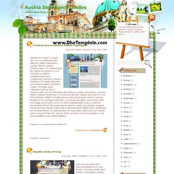 Austria Stole Fancy Castles blogger template from wordpress. blogger template for travel blog. free blogspot template