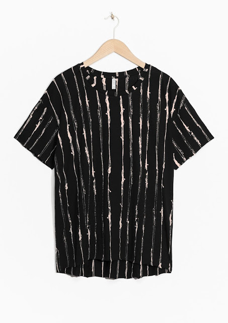 black paint stripe t-shirt,