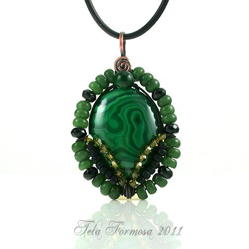 Victorian Large Green Malachite Handmade Beaded Pendant