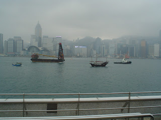Victoria Harbor with Chinese Junk