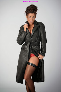 Hot Brunette Leather Trench Coat and Stockings