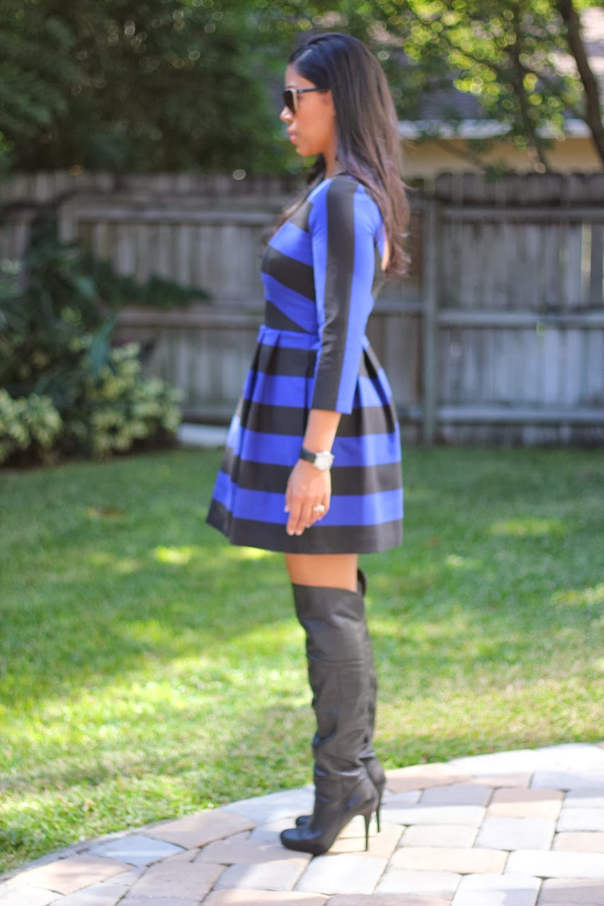 Zara Stripe open back dress cobalt black steve madden over the knee boots chanel