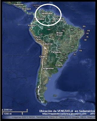 Ubicación de VENEZUELA en Sudamérica, Vista Satelital