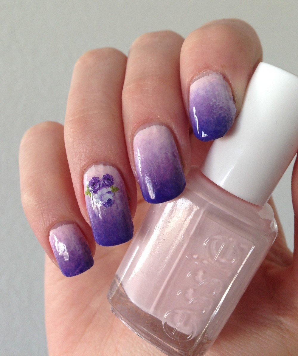 nail-art-dégradé-fleuri