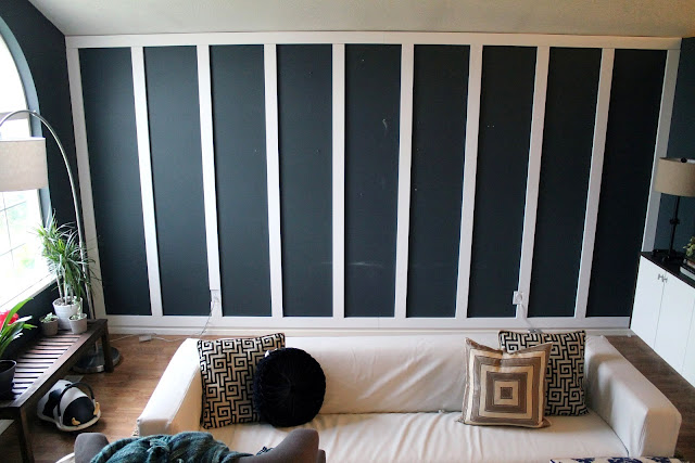 Chris Loves Julia living room DIY black paneled walls