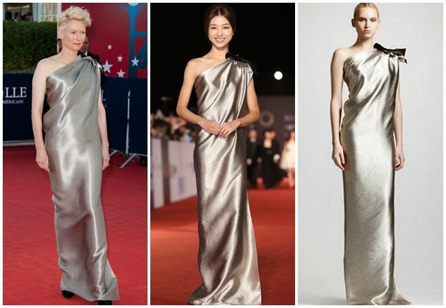 金馬撞衫 Same or Not: Lanvin 2013 one-shoulder Duchess Satin Column Gown