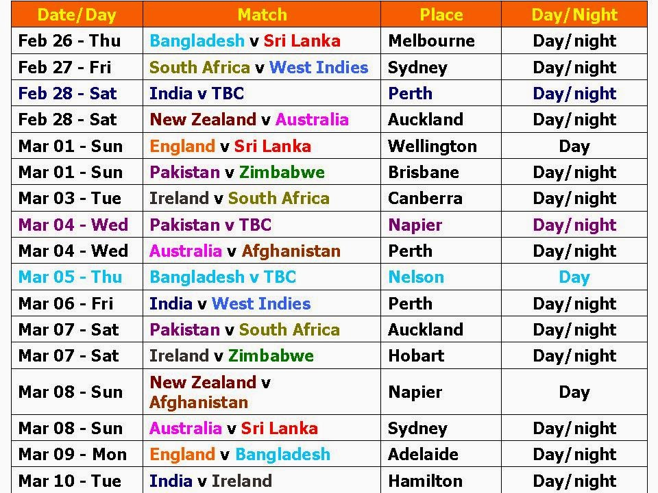 ... 197kB, Learn New Things: ICC World Cup 2015 Schedule and Time Table