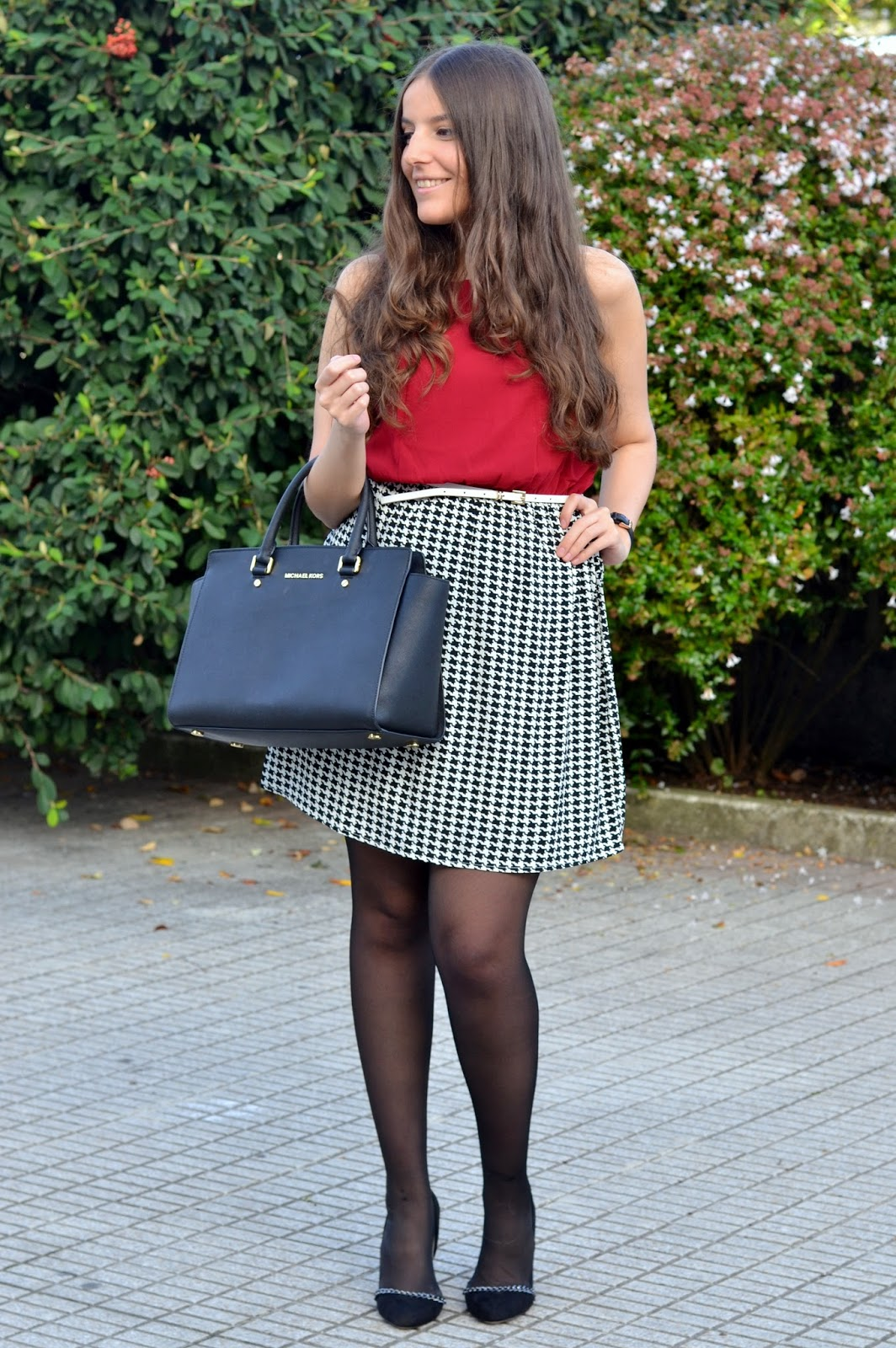 lucloset, houndstooth, dress, selma michael kors