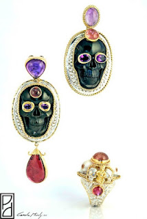 Carole-Midy-Buddha-rings-skull-rings-Buddha-earrings-skull-earrings-life-and-death-collection-in-gold-and-silver-with-amethyst-pale-moonstones-carved-onyx-cabachons