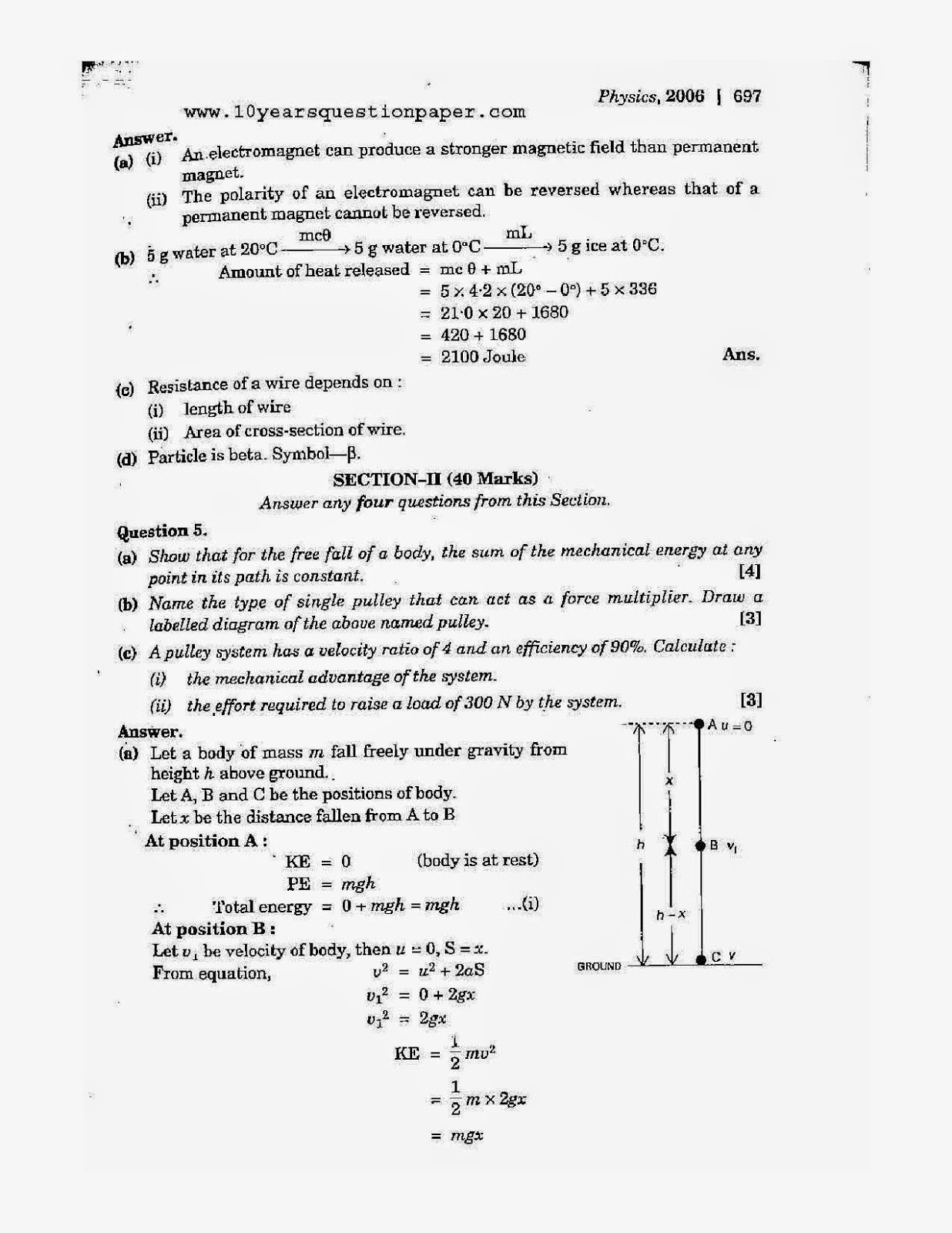 icse 2006 class 10th science physics paper 1 question paper