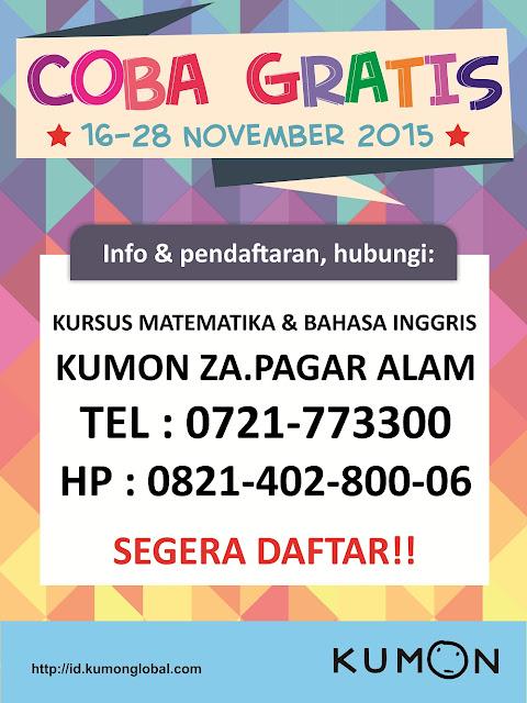 Coba Gratis Kumon : 16-28 November 2015