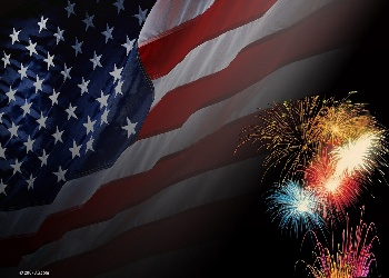 Flag with Fireworks Wallpaper