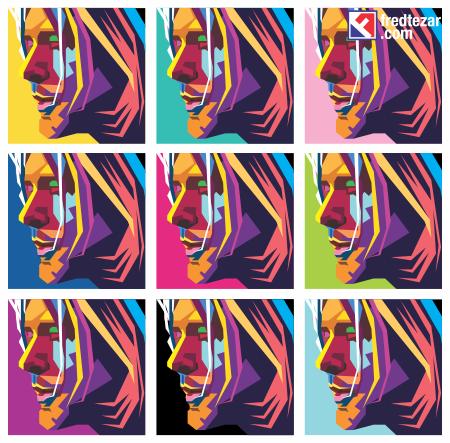 9 panel WPAP kurt cobain background yang berbeda