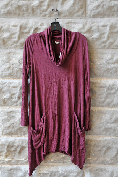 Raspberry tunic with cowl neck and double pockets  $76
