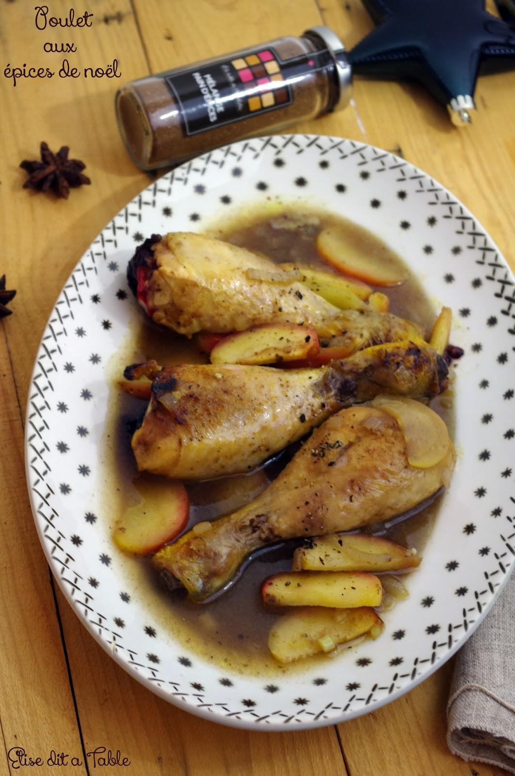 recette poulet aux pommes et aux épices de noël