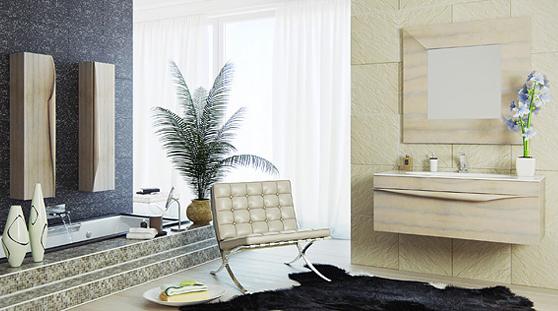 Сантехника на фото: мебель Clarberg Papyrus Wood для ванной комнаты