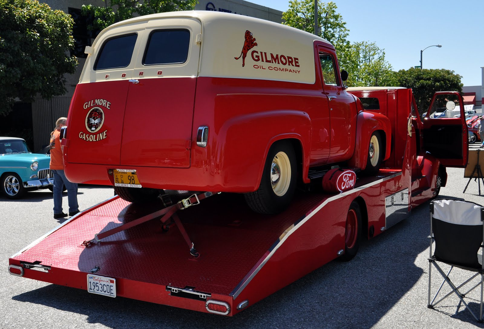 The 53 COE crew cab in Gilmore colors has a matching panel truck