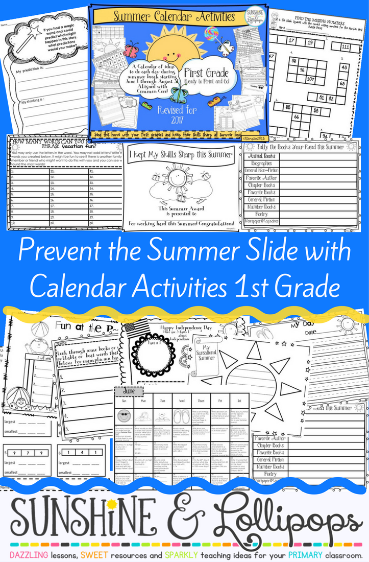 Summer Calendar for 1st Grade