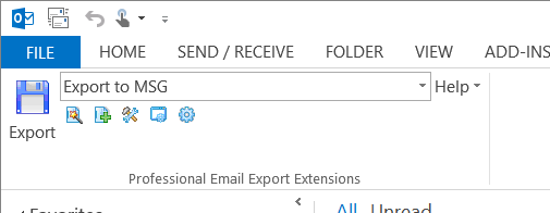 MessageExport toolbar installs with MS Outlook to expand export abilities.
