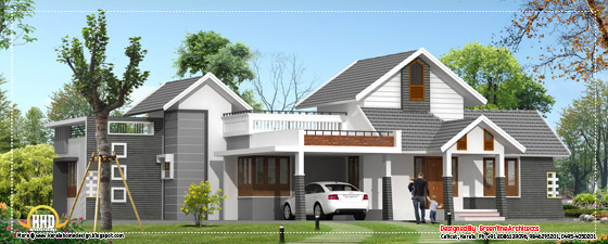 Kerala home design single floor - 2330 Sq. Ft. (216 Sq. M.) (259 Square Yards) - March 2012