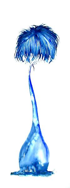 Bleu cocotier (aquarelle au couteau)
