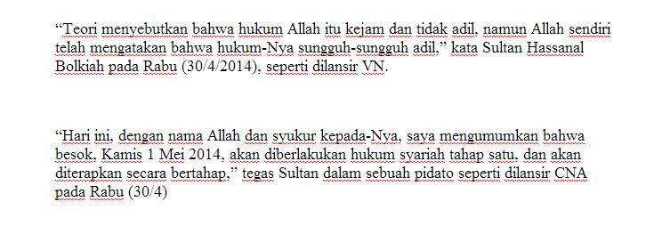 Brunei Darussalam Terapkan Hukum Negara Sesuai Hukum Ajaran Islam