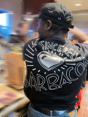 "Chipotle T-shirt ""sincerely barbacoa"""