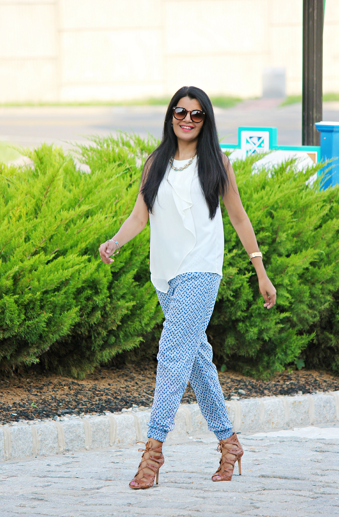 Printed Track Pants, Track Pants for Work, How To Wear The Track Pants, How To Style Jogger Pants. Jogger Pants, Harem Pants For Work, Lace Up Sandle Booties, Vince Camuto Lace Up Sandals