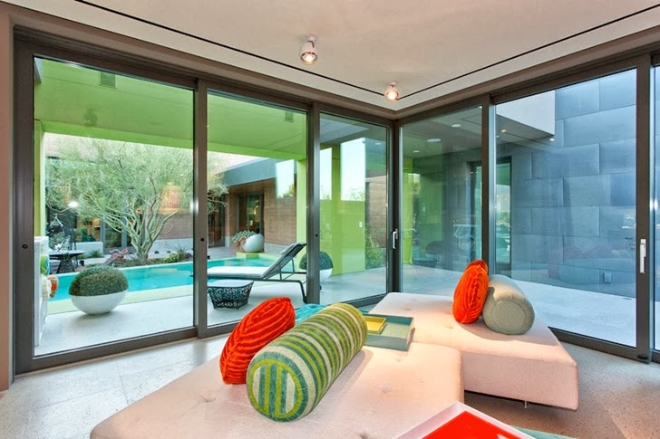 Glass bedroom walls in Multimillion modern dream home in Las Vegas