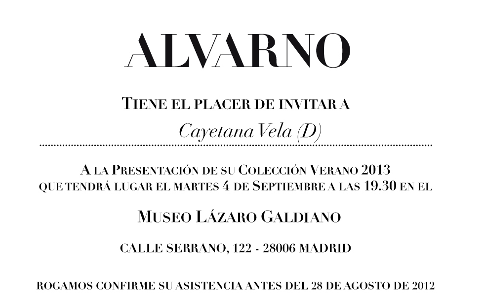 El Museo Lázaro Galdiano de Madrid es el escenario elegido por ALVARNO para su desfile PV/2013 el próximo 4 de Septiembre 2012