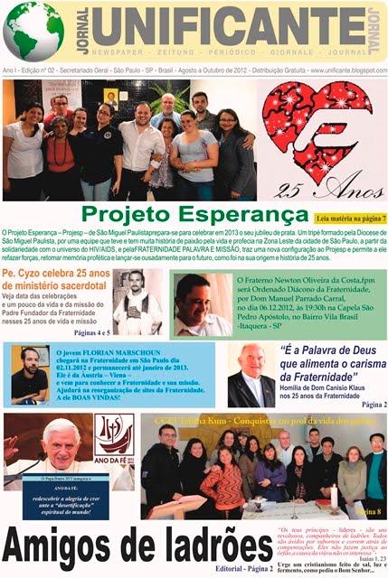 Jornal Unificante - 2a Edição - Está sendo distribuída.