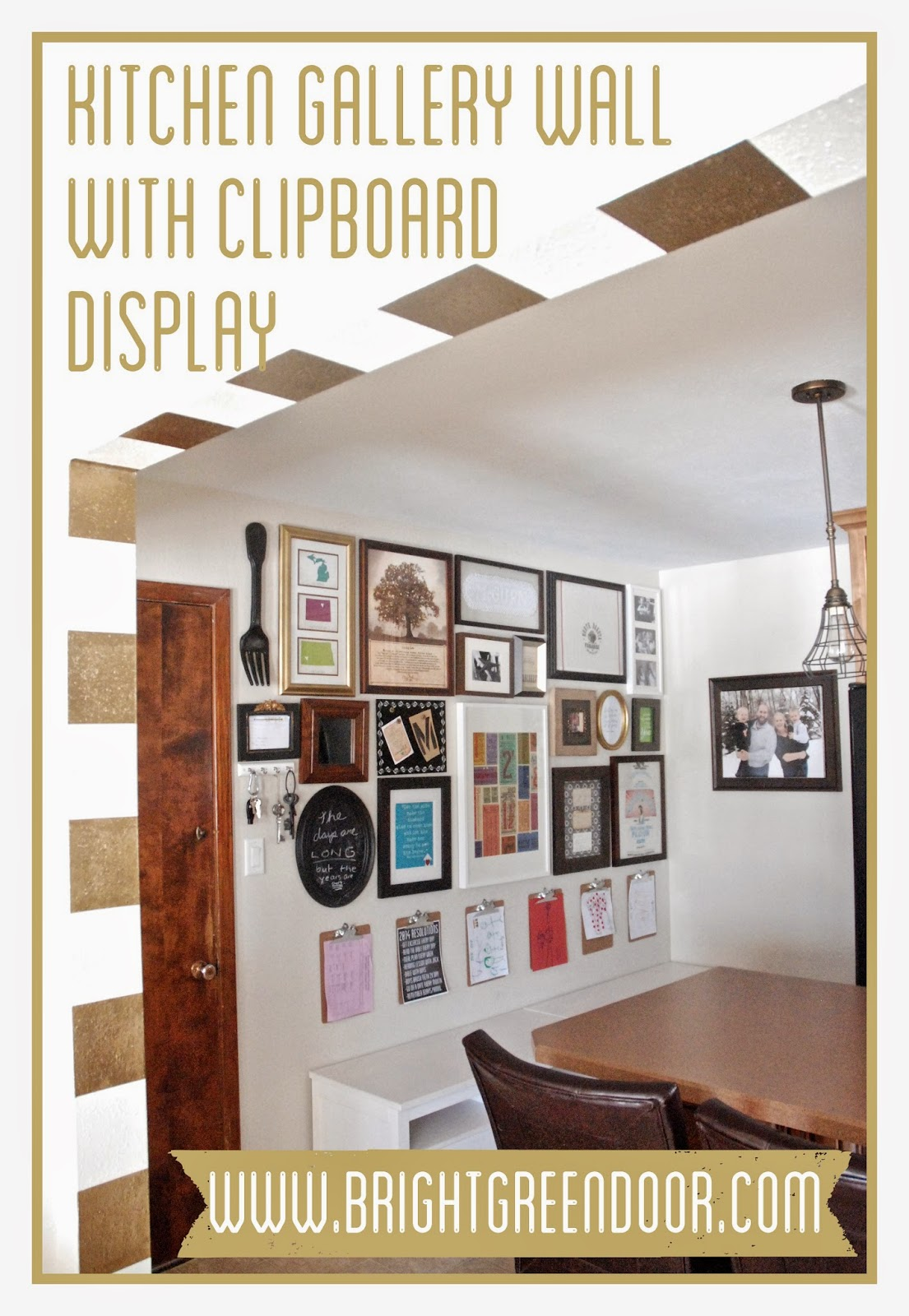 Kitchen Gallery Wall with Clipboard Display