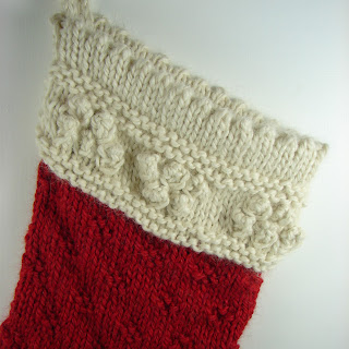 detail hand knit stocking baby alpaca red cream  white