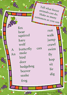 forest animals action worksheet using the verb can
