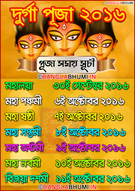 Durga Puja 2016 Date And Time Information Photo