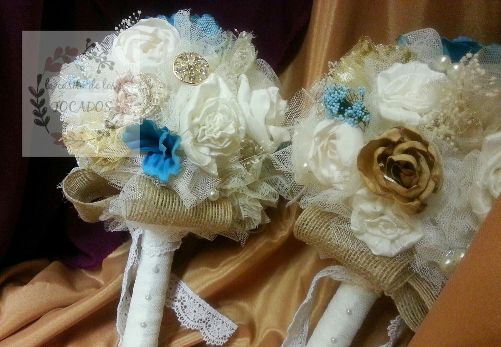 bouquets para boda en colores marfil, beige, dorado y turquesa