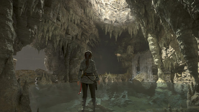 Rise of the Tomb Raider underground lake stalagmites stalactites