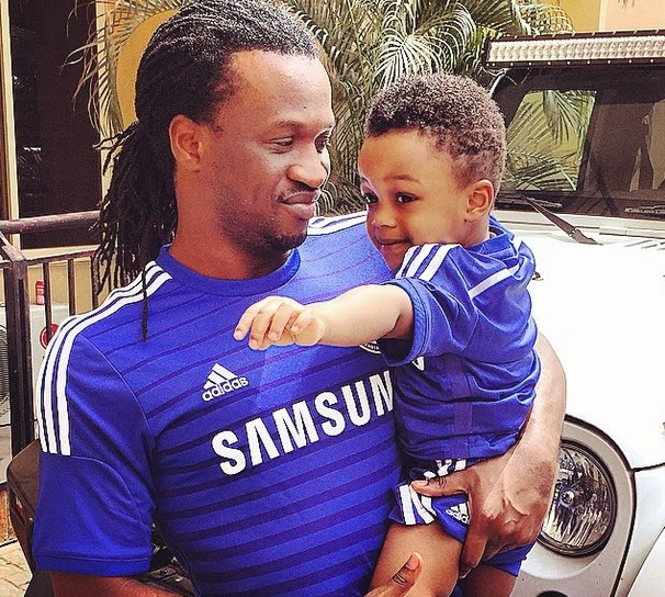 Paul Okoye and his Lovely Son in Chelsea Jersey