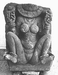 Lajjagauri, the shy Parvati, with a lotus covering her face; Central Indian terracotta