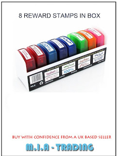SET OF 8 SELF INK TEACHER STAMPS IN A TRAY SCHOOL STAMPS MULTI COLOUR REWARD