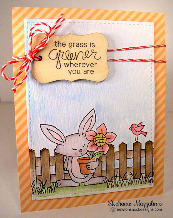 Grass is Greener Bunny Garden card by Stephanie Muzzulin | Garden Whimsy | Garden Stamp Set by Newton's Nook Designs