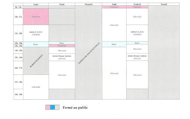 planning du 08 au 12 octobre 2012